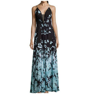 Betsy & Adam Floral Chiffon Maxi Gown Black Teal